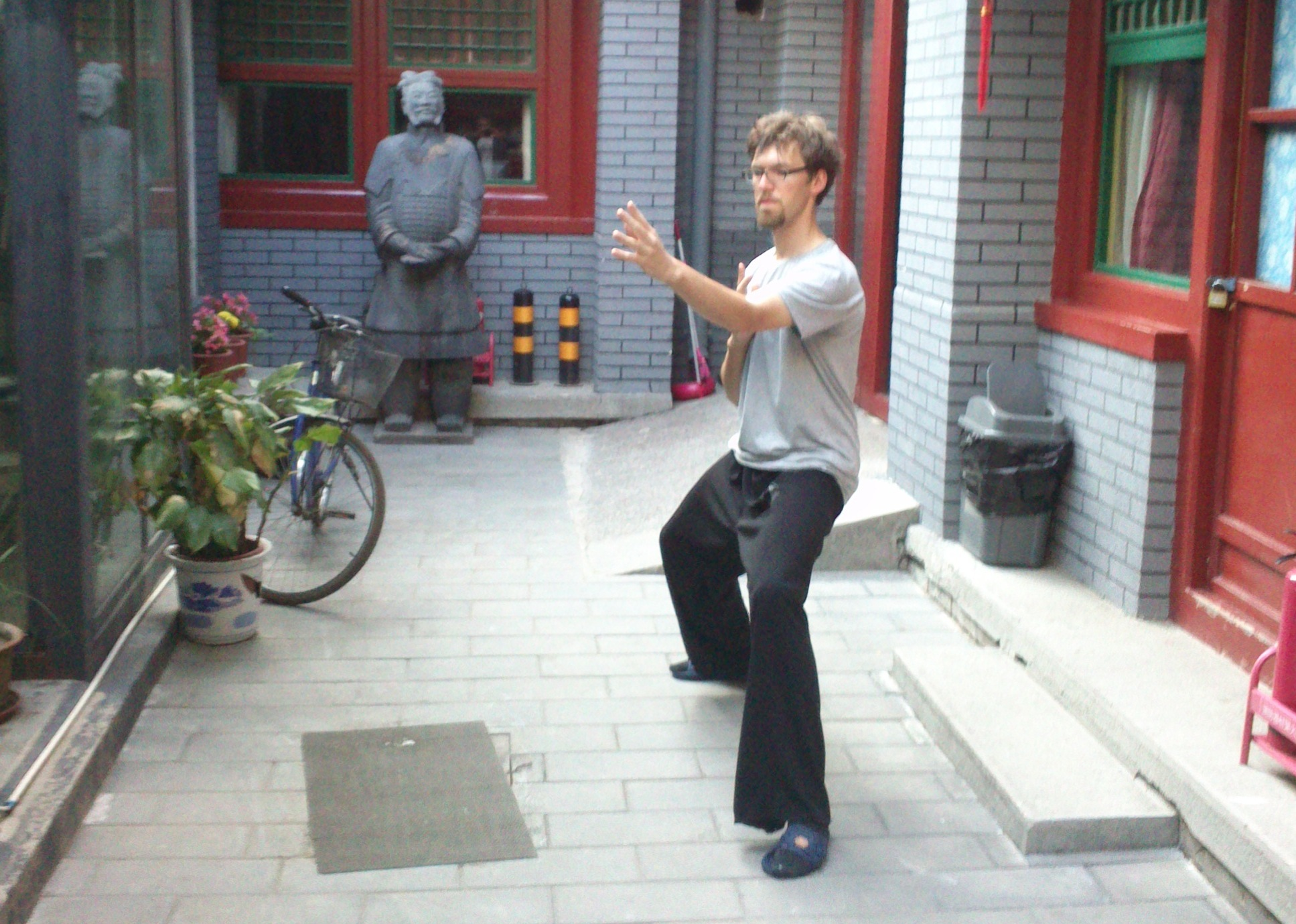 Morgentraining in einem Hutong in Peking